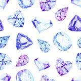Modelo inconsútil del vector del diamante de la acuarela azul de los cristales ilustración del vector