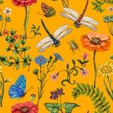Modelo inconsútil del vector del verano Papel pintado botánico Plantas, insectos, flores en estilo del vintage Mariposas, libélul ilustración del vector