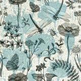 Modelo inconsútil del vector del verano Papel pintado botánico Plantas, insectos, flores en estilo del vintage Mariposas, libélul stock de ilustración