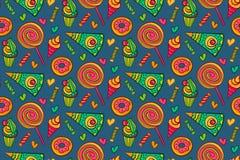 Modelo inconsútil del vector dulce de los postres Fondo sin fin con la piruleta, caramelo, helado, magdalena, buñuelo, torta, cor Fotografía de archivo