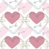 Modelo inconsútil del vector en el tema del día de tarjeta del día de San Valentín stock de ilustración