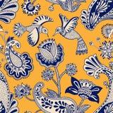 Modelo inconsútil del vector, estilo indio decorativo Flores y pájaros estilizados en el fondo rojo Ejemplo colorido de la histor libre illustration