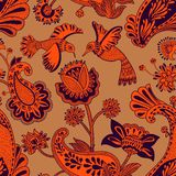 Modelo inconsútil del vector, estilo indio decorativo Flores y pájaros estilizados en el fondo rojo Ejemplo colorido de la histor ilustración del vector