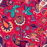 Modelo inconsútil del vector, estilo indio decorativo Flores y pájaros estilizados en el fondo rojo Ejemplo colorido de la histor stock de ilustración
