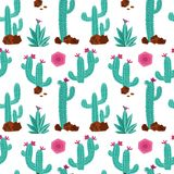 Modelo inconsútil del vector exhausto de la mano del cactus Fondo inconsútil exhausto de la repetición de la mano con las plantas ilustración del vector