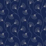 Modelo inconsútil del vector floral abstracto a mano poner crema en fondo del añil Art Deco Blooms Flores abstractas de la fan libre illustration