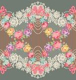 Modelo inconsútil del vector floral romántico de la cinta del cordón Foto de archivo libre de regalías
