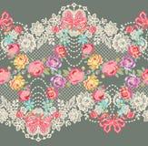 Modelo inconsútil del vector floral romántico de la cinta del cordón Fotografía de archivo