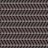 Modelo inconsútil del vector Fondo abstracto geométrico simétrico con las líneas y los puntos en la forma del zigzag en negro y r Imágenes de archivo libres de regalías