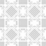 Modelo inconsútil del vector Fondo blanco y negro geométrico simétrico con el Rhombus, los cuadrados y las líneas Repetición deco Foto de archivo
