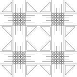Modelo inconsútil del vector Fondo blanco y negro geométrico simétrico con los cuadrados, los trigons y las líneas Fotografía de archivo libre de regalías