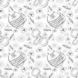 Modelo inconsútil del vector Fondo blanco y negro lindo con los gatos, los mouses y las flores dibujados mano Fotos de archivo libres de regalías