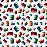 Modelo inconsútil del vector Fondo caótico brillante con las gemas coloridas del primer en el contexto blanco Fotografía de archivo libre de regalías