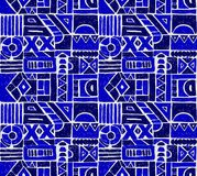 Modelo inconsútil del vector Fondo geométrico con los elementos tribales decorativos dibujados mano en colores del marrón del vin Fotografía de archivo libre de regalías