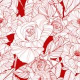 Modelo inconsútil del vector hermoso con las rosas Imagen de archivo libre de regalías