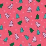 Modelo inconsútil del vector hermoso con los árboles de navidad Foto de archivo