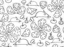 Modelo inconsútil del vector hermoso con los ratones divertidos y diversa comida: pizza, rebanadas del queso, setas, tomates y ce Fotos de archivo libres de regalías