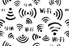Modelo inconsútil del vector del icono del Wi-Fi imagenes de archivo