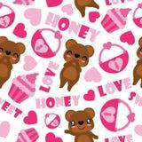 Modelo inconsútil del vector lindo del oso y de los elementos de la tarjeta del día de San Valentín Imagen de archivo libre de regalías