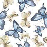 Modelo inconsútil del vector Mariposa de la acuarela Vector Foto de archivo