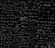 Modelo inconsútil del vector matemático con fórmulas, diagramas, funciones, ecuaciones y figuras algebraicas y geométricas ilustración del vector