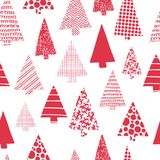 Modelo inconsútil del vector moderno de los árboles de navidad Siluetas rojas del árbol de navidad en un fondo blanco Diseño mode stock de ilustración