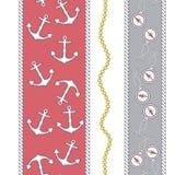 Modelo inconsútil del vector moderno de moda elegante con el ancla hermosa de la moda, la cadena, el compás y la cuerda marina  libre illustration