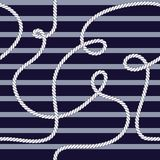 Modelo incons?til del vector moderno de moda elegante con la cuerda marina de la moda hermosa en un fondo de los azules marinos P ilustración del vector