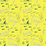 Modelo inconsútil del vector moderno de moda elegante de los niños con los pescados hermosos de la moda, los pájaros, las conc stock de ilustración