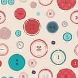 Modelo inconsútil del vector retro Botones brillantes de los colores en fondo oscuro Ideal para la materia textil, el papel pinta Imágenes de archivo libres de regalías