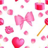 Modelo inconsútil del vector rosado con los artículos de la tarjeta del día de San Valentín libre illustration