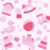 Modelo inconsútil del vector rosado con los juguetes del bebé libre illustration