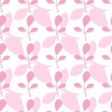 Modelo inconsútil del vector rosado de las hojas en el fondo blanco Estilo plano del contexto stock de ilustración