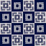 Modelo inconsútil del vector del shibori abstracto del añil con la impresión del ikat del mosaico Imagen de archivo