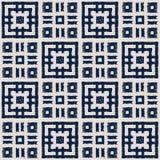 Modelo inconsútil del vector del shibori abstracto del añil con la impresión del ikat del mosaico Fotografía de archivo