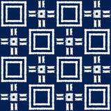 Modelo inconsútil del vector del shibori abstracto del añil con la impresión del ikat del mosaico Foto de archivo