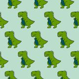 Modelo inconsútil del vector del verde lindo de los dinosaurios 90s ilustración del vector