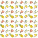Modelo inconsútil del verano colorido con las frutas tropicales y el helado Vector ilustración del vector