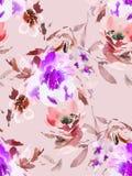 Modelo inconsútil del verano con las flores de la acuarela Fotografía de archivo libre de regalías