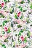 Modelo inconsútil del verano con las flores de la acuarela Imagen de archivo