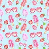 Modelo inconsútil del verano de la acuarela con los polos, el caramelo, las gafas de sol y srtawberry dulces en fondo azul libre illustration
