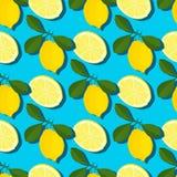 Modelo inconsútil del verano mínimo de moda con el limón entero, cortado de la fruta fresca en fondo del color Imagen de archivo