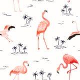 Modelo inconsútil del verano del vector del flamenco tropical con las palmeras tropicales Fondo del pájaro para los papeles pinta ilustración del vector