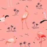 Modelo inconsútil del verano del vector del flamenco tropical con las palmeras tropicales Fondo para los papeles pintados, página ilustración del vector