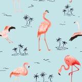Modelo inconsútil del verano del vector del flamenco tropical con las palmeras tropicales Fondo para los papeles pintados, página libre illustration