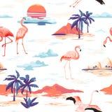 Modelo inconsútil del verano del vector tropical de la isla y del flamenco con las palmeras tropicales Fondo del vintage para los stock de ilustración