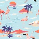 Modelo inconsútil del verano del vector tropical de la isla y del flamenco con las palmeras tropicales Fondo del vintage para los libre illustration