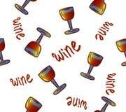 Modelo inconsútil del vino Vidrios de vino bebidas coloridas conceptuales del alcohol que repiten el fondo para el propósito de l stock de ilustración