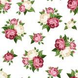 Modelo inconsútil del vintage con las rosas rosadas y blancas Ilustración del vector Imagen de archivo