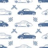 Modelo inconsútil del vintage con los coches Imagen de archivo libre de regalías